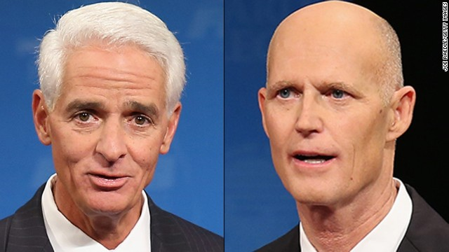 Left, Former Florida Governor and Democratic candidate for Governor Charlie Crist and right, Republican Florida Governor Rick Scott.