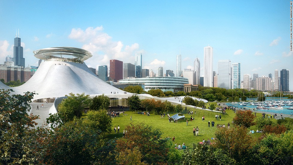Designed by Beijing-based MAD Architects, the museum will have three levels of exhibition space and an observation deck with panoramic views of Chicago and Lake Michigan.