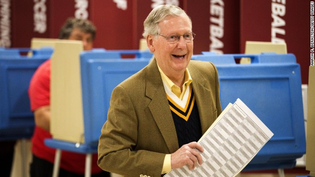 Senate Minority Leader U.S. Sen. Mitch McConnell (R-KY) holds his ballot after voting in the midterm elections at Bellarmine University November 4, 2014 in Louisville, Kentucky.