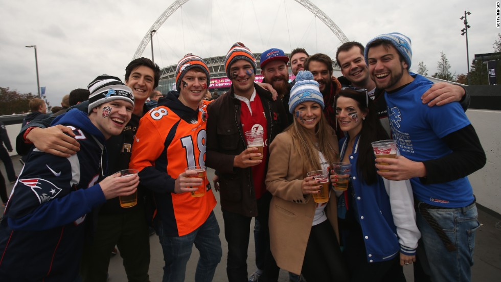 NFL fans gather outside London's Wembley Stadium for the International Series game between Detroit Lions and Atlanta Falcons in October 2014.