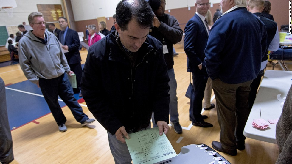 Walker casts his ballot Tuesday, November 4, at Jefferson Elementary School in Milwaukee.