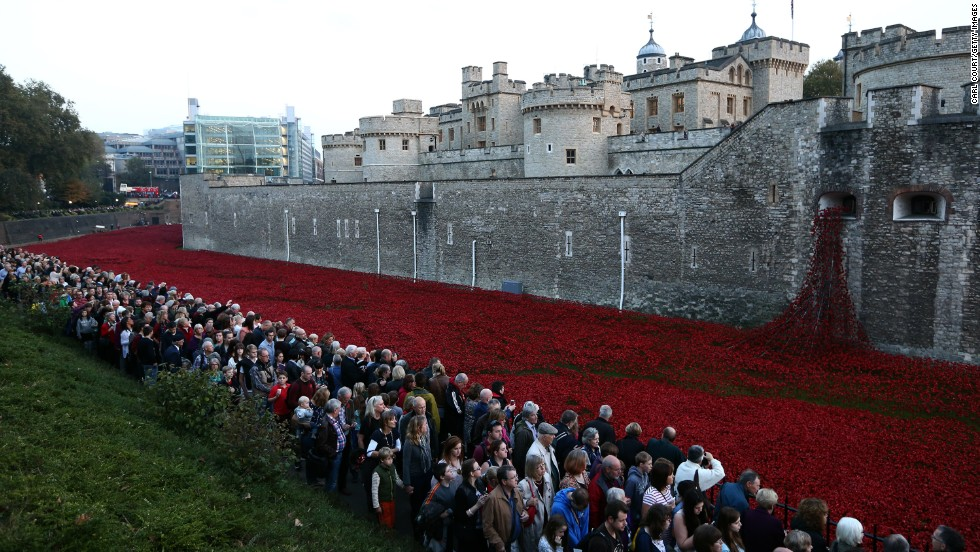 Final Tower of London poppy 'planted' on Armistice Day