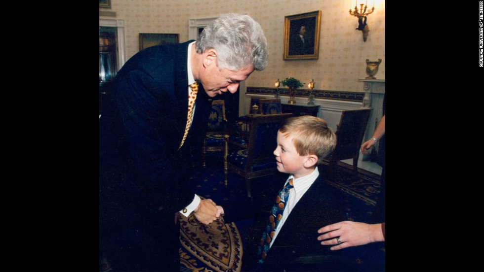 Tyler Summitt meets his second president. Bill Clinton invited the Lady Vols to the White House in October 1997 after they won the national title in the spring.