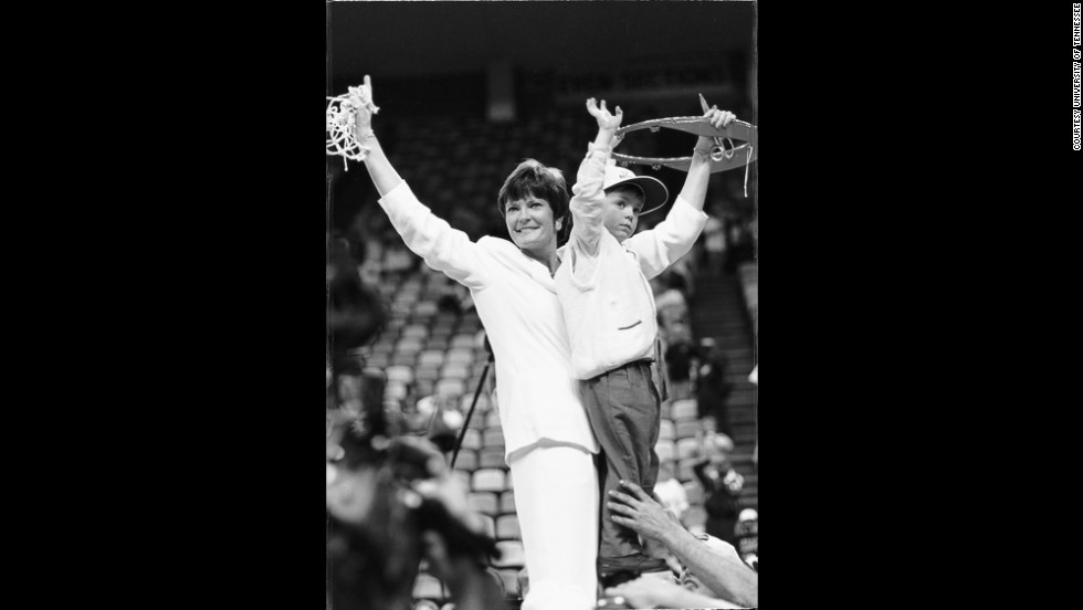 When Pat Summitt began, she had to wash her team's uniforms, drive the team van and play in rec gyms. Her success changed the landscape for generations of women basketball players. She and Tyler cut down the nets after the 1997 championship.