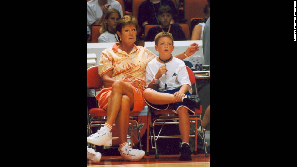 "A whistle around his neck, Tyler watches a summer camp with his mom. Of his new coaching job, Pat Summitt tells CNN: ""He has the drive and has embraced the work ethic it will take to be successful."""