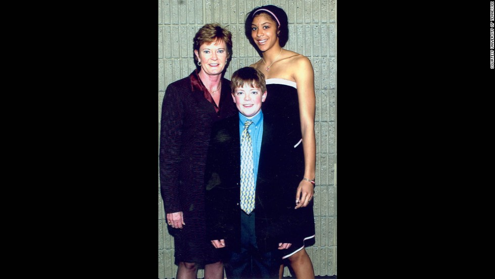 """Tyler developed a love for the game and became a student of the game very early in his life,"" Pat Summitt says. Here, they celebrate with former Tennessee great Candace Parker at the 2004 Naismith Award banquet."