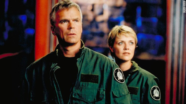 Richard Dean Anderson as Jack O'Neill and Amanda Tapping as Samantha Carter in