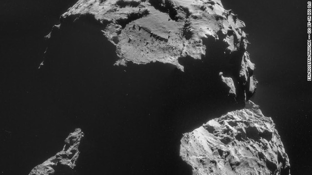 The Agilkia landing site, pictured,  is seen on this image of Comet 67P/Churyumov--Gerasimenko, taken with Rosetta's navigation camera on 6 November, just days before its lander Philae makes its historic descent to the surface.