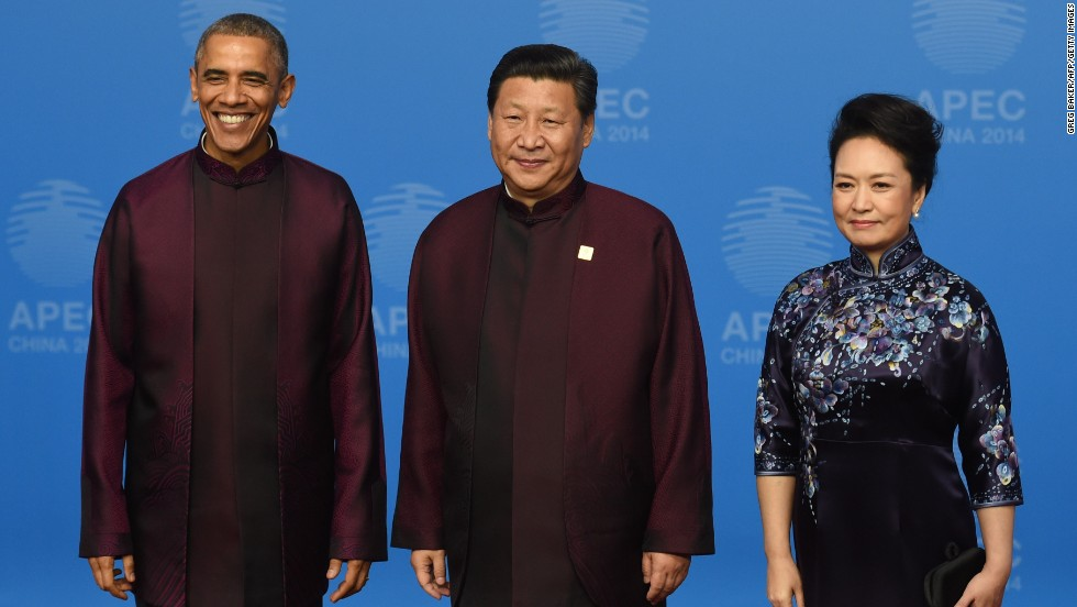 Last year it was the turn of Beijing, which opted for Mao-style jackets in shades of burgundy, teal and brown. But many thought the leaders' outfits resembled those worn by Star Trek's Captain Kirk or Spock.