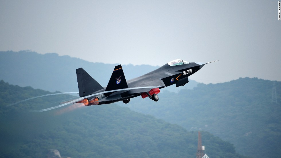 A Chinese J-31 stealth fighter jet takes off for a demonstration flight on  November 9, in Zhuhai, China.
