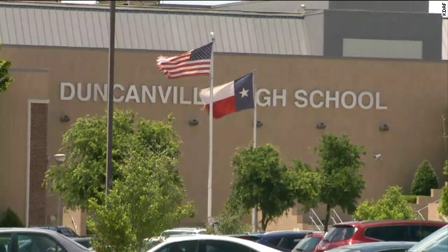 A school district spokeswoman says the tweets are not representative of the high school's staff.