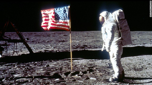 Buzz Aldrin poses next to the U.S. flag on July 20, 1969, on the moon during the Apollo 11 mission. (Photo by NASA/Liaison)