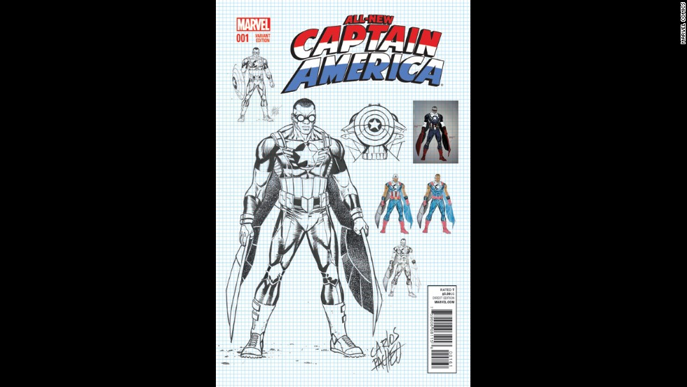 This variant cover looks at some of the designs for the new Captain.
