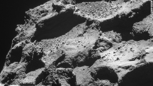 This November 11, 2014 handout photo provided by the European Space Agency (ESA) shows the surface of the 67P/Churyumov-Gerasimenko comet, taken from an altitude of approximately 10km by the Rosetta probe.