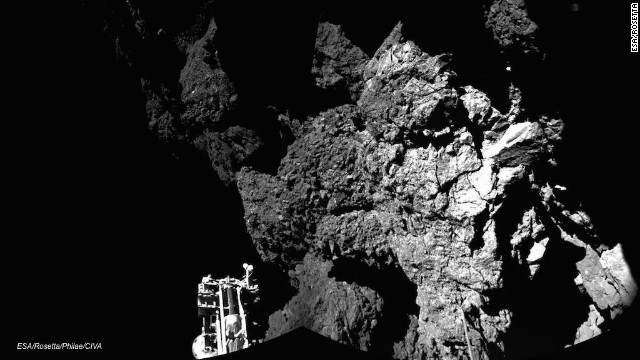 The European Space Agency released this photo of Comet 67P, taken by its Philae lander.