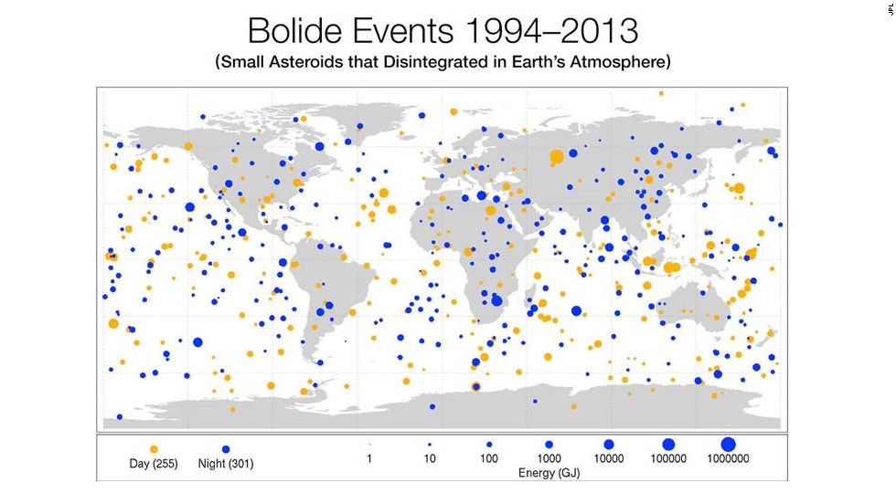 New NASA map shows Earth bombarded by asteroids