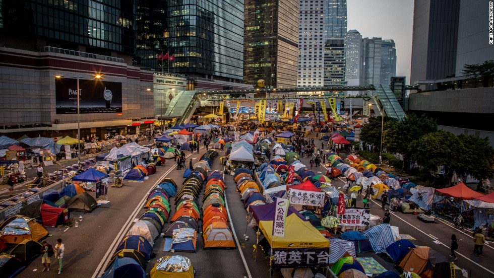 The Admiralty protest site is shown on the road outside the Hong Kong Government complex on Monday, November 17.