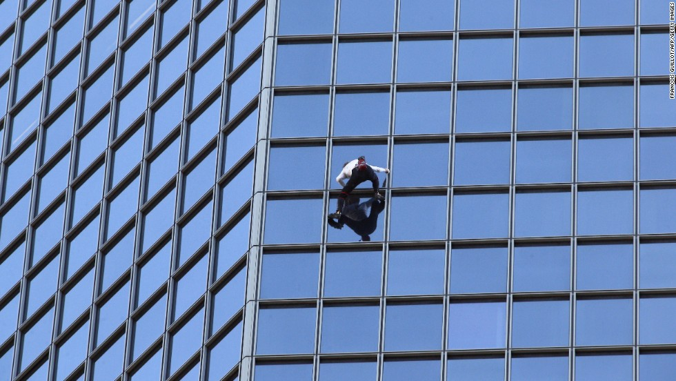 "<a href=""http://www.cnn.com/2010/WORLD/europe/04/20/alain.robert.profile/index.html"">Alain Robert</a>, known as the ""French Spider-Man,"" scales a 610-foot skyscraper in Paris' La Defense district. Often forgoing ropes and harnesses, Robert has established himself as one of the world's best free solo climbers. He has racked up numerous arrests and a few serious injuries along the way."