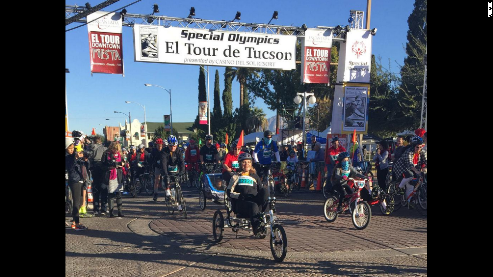 "Giffords completed an <a href=""http://www.cnn.com/2014/11/23/us/giffords-11-mile-bike-ride/index.html"" target=""_blank"">11-mile cycling event</a> on November 22, marking another milestone in her recovery from a 2011 mass shooting, <a href=""https://twitter.com/GabbyGiffords/status/536217312429617153/photo/1"" target=""_blank"">tweeting</a> ""Kicking off 11 miles in El Tour de Tucson. Beautiful day for a bike ride!"""