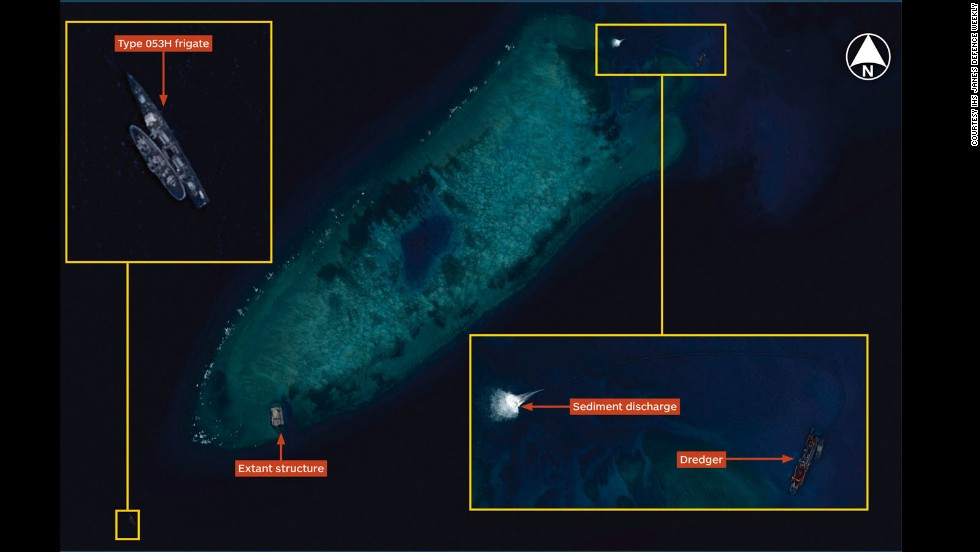 Airbus Defence and Space Imagery dated August 8, 2014 shows the beginning of land reclamations at Fiery Cross Reef in the South China Sea. Image courtesy Jane's Defense Weekly.