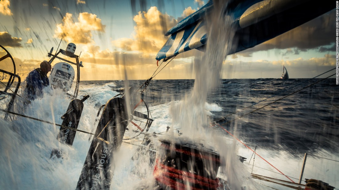 The eighth and penultimate legs stretches 647 miles from Lisbon, Portugal, to Lorient, France and the 15-strong crew won by almost 50 minutes.