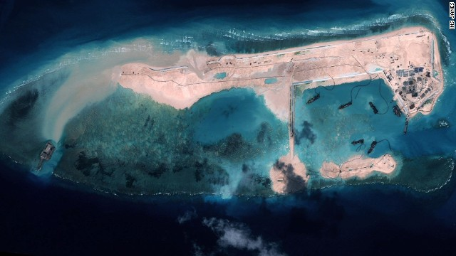 China building island in disputed waters