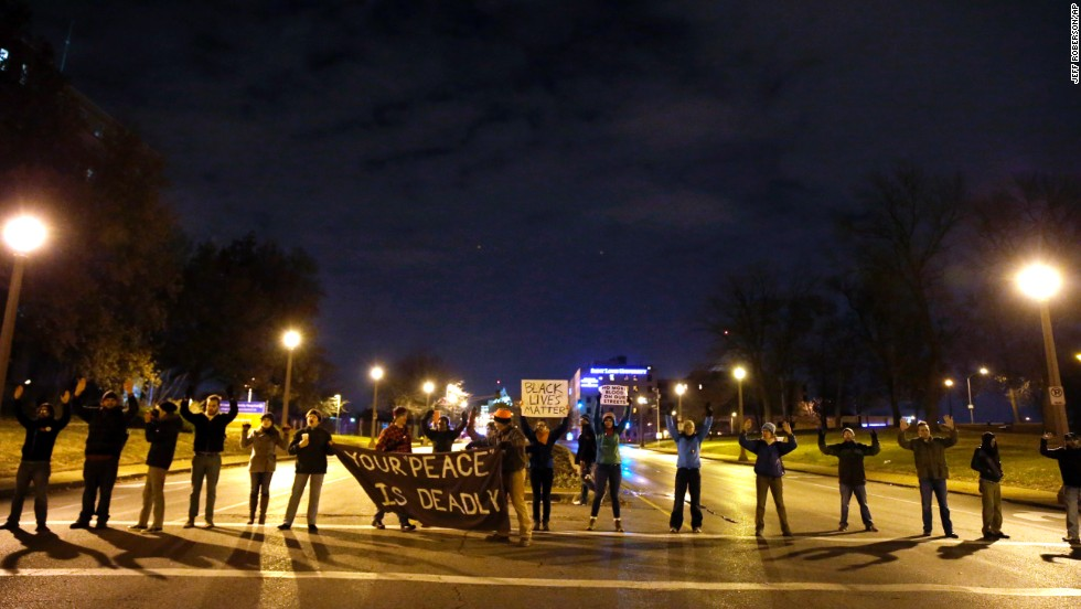 Protesters block streets in St. Louis after the announcement of the grand jury's decision on November 24. Ferguson is a suburb of St. Louis.