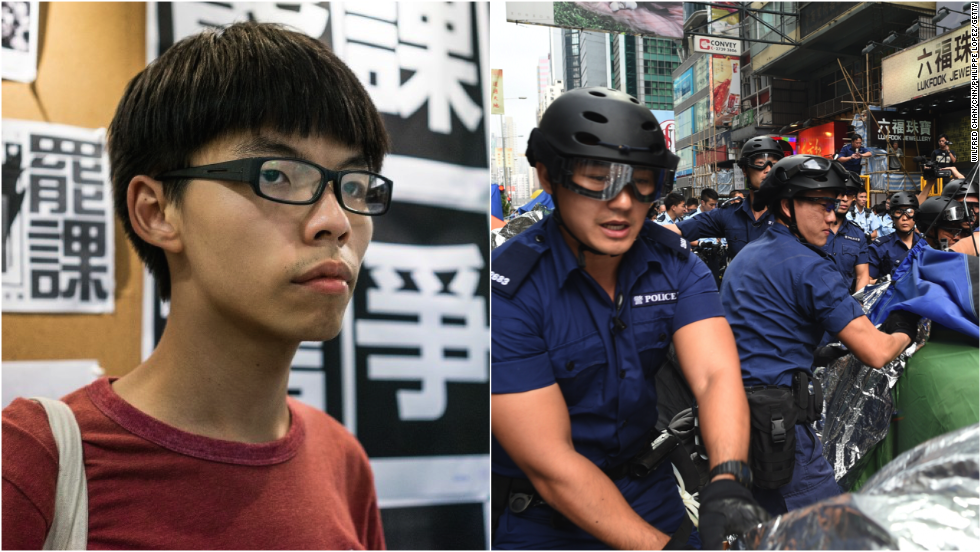 Hong Kong student leader Joshua Wong arrested in Mong Kok clearance