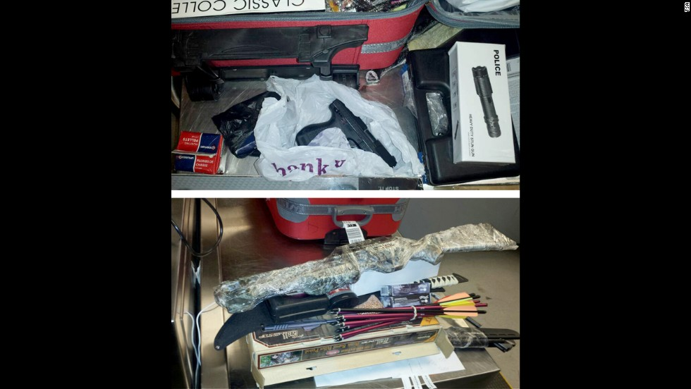 There are rules for checking your weapons, including declaring them to your airline when you check in. A Queens man was caught with an undeclared stash of weapons in his checked bags at John F. Kennedy International Airport in New York.