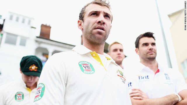 NOTTINGHAM, ENGLAND - JULY 10: Phil Hughes of Australia walks out onto the ground before day one of the 1st Investec Ashes Test match between England and Australia at Trent Bridge Cricket Ground on July 10, 2013 in Nottingham, England. (Photo by Ryan Pierse/Getty Images)