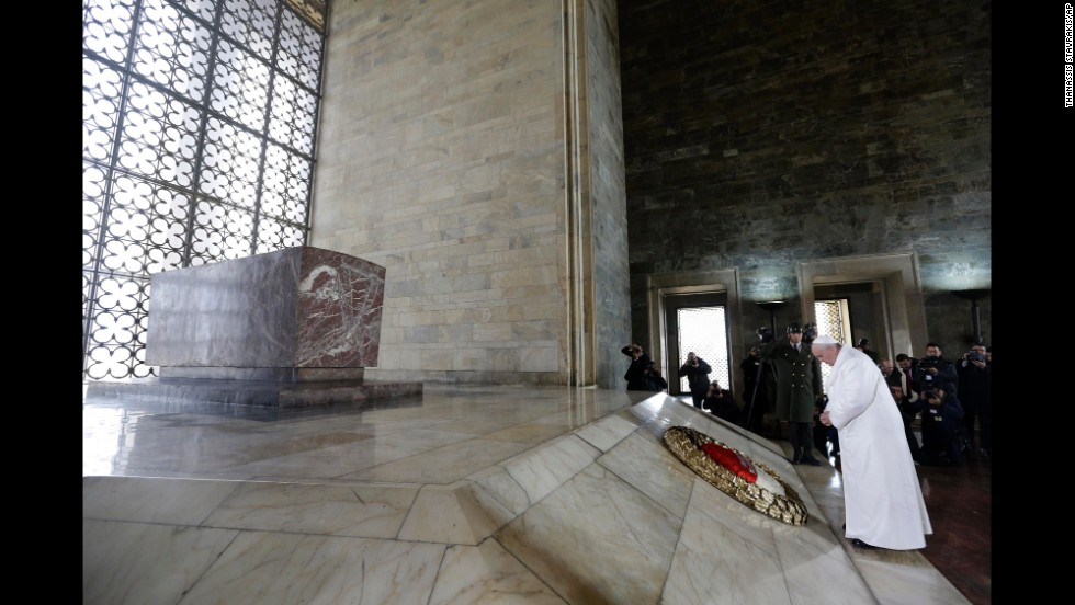 The Pope pauses after laying a wreath at the Ataturk Mausoleum on November 28.
