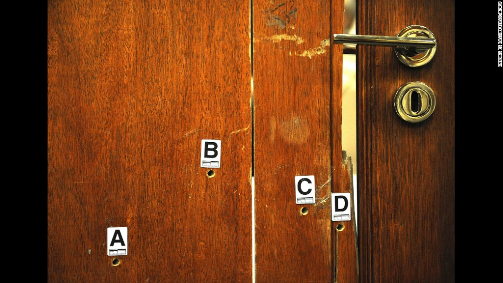 "<strong>April 14:</strong> The door through which Oscar Pistorius fatally shot his girlfriend, Reeva Steenkamp, is used as evidence during his murder trial in Pretoria, South Africa. Pistorius, the first double-amputee runner to compete in the Olympics, was <a href=""http://www.cnn.com/2014/03/03/africa/gallery/pistorius-2014-trial/index.html"">found guilty of culpable homicide</a> -- the South African term for unintentionally, but unlawfully, killing a person. He was sentenced to five years in prison."