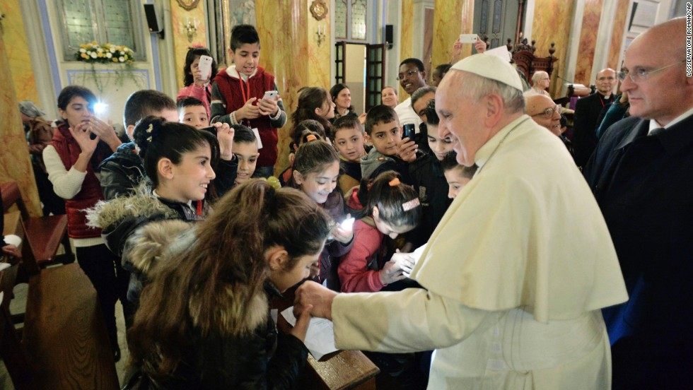 Pope Francis meets with refugee children in Istanbul on November 30.