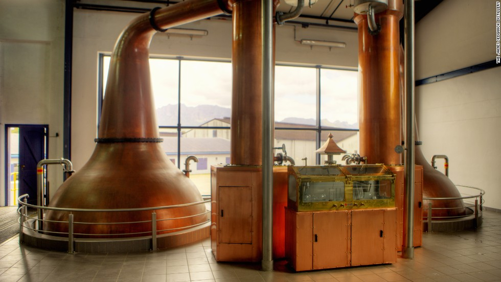 "It is in these copper pot stills, built by Forsyth's of Scotland, that the whisky ""wash"" goes through double distillation."