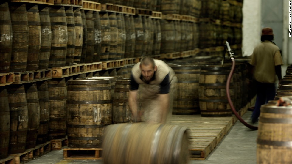 The whisky is stored in wooden casks as it matures. It is during this stage that the whisky takes on new flavors and aromas. As the wood is porous, 3-5% of the whisky is drunk by the barrel or lost to evaporation. This is referred to as the angels' share.