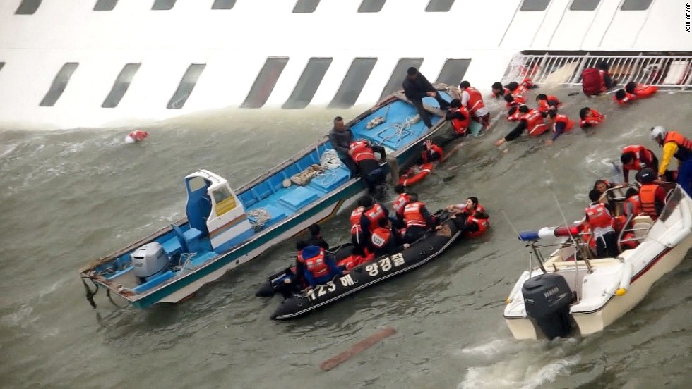 "<strong>April 16:</strong> Rescue boats scramble to save passengers from the sinking ferry Sewol as it sinks into freezing waters off South Korea's southwestern coast. More than 300 people died <a href=""http://www.cnn.com/2014/04/15/asia/gallery/south-korea-sinking-ship/index.html"">after the ferry capsized,</a> and the ship's captain was later sentenced to 36 years in jail."