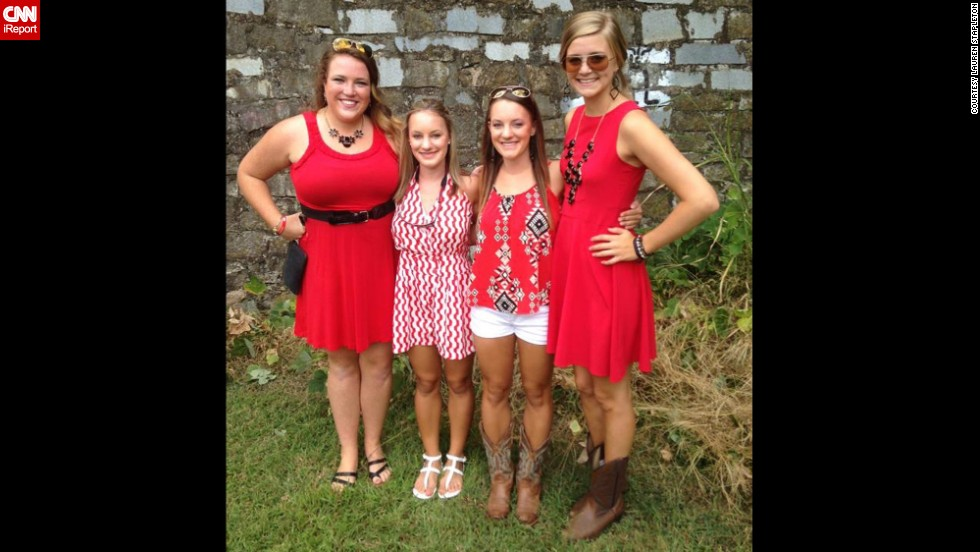 The South is known for taking a lot of things seriously, like Chick-fil-A, sweet tea and church on Sundays. But let's not forget the most important thing of all: College football. At the University of Georgia, Lauren Stapleton, second from right, and her friends go all out for home games.