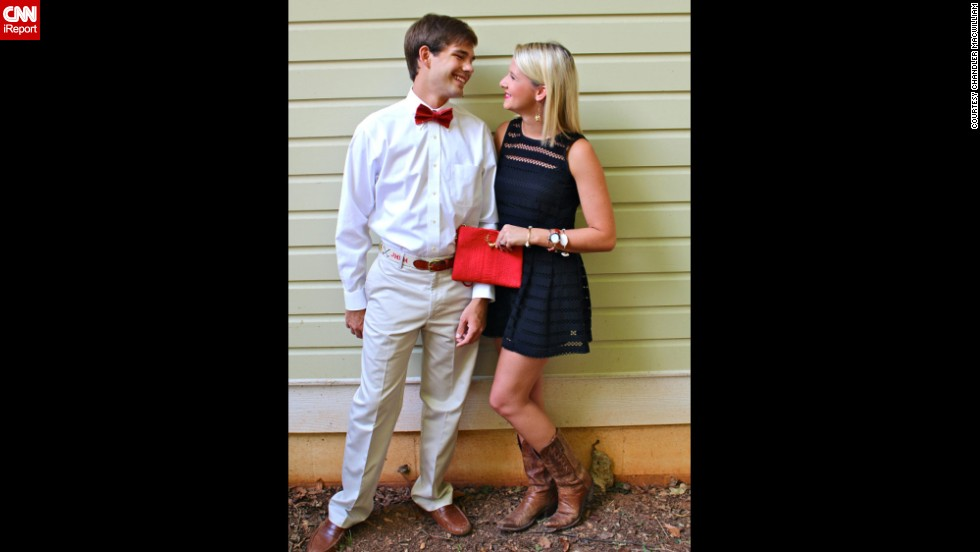 "Chandler MacWilliam, right, a senior at the University of Alabama and a <a href=""http://shotgunsandseashells.com"" target=""_blank"">fashion blogger</a>, models a game-day look with her boyfriend. She<a href=""http://shotgunsandseashells.com/"" target=""_blank""> </a>says she spends $50 to $200 on a typical tailgate outfit, which must always feature something red, black, white or gray. ""I refuse to dress in any color but those four."""