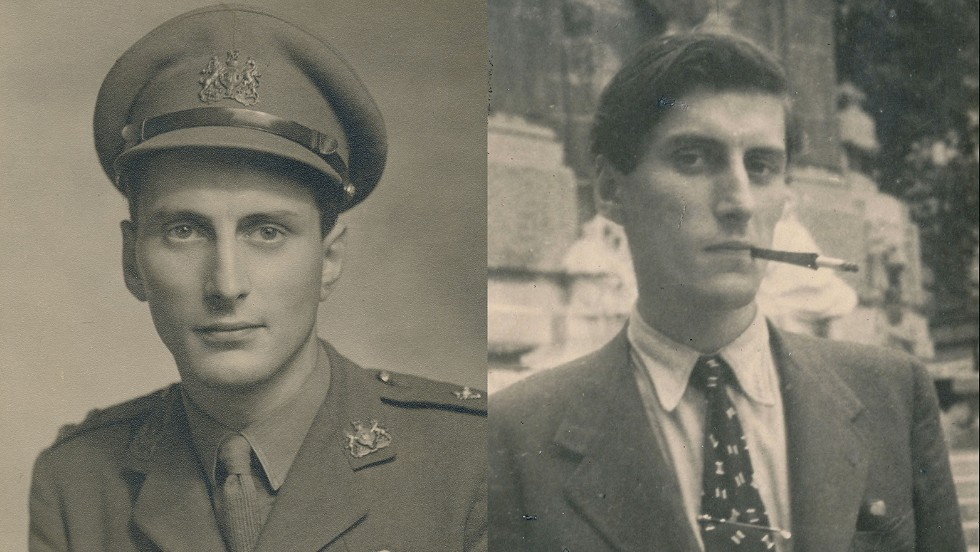 Brian Stonehouse in his military uniform (left), and in disguise as Michel Chapuis, a French art student, in occupied France in 1942 (right). He survived German concentration camps to become a leading fashion illustrator after the War.