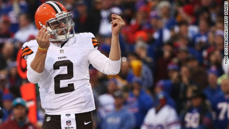 Johnny Manziel #2 of the Cleveland Browns celebrates a touchdown against the Buffalo Bills during the second half at Ralph Wilson Stadium on November 30, 2014 in Orchard Park, New York. (Photo by Tom Szczerbowski/Getty Images)