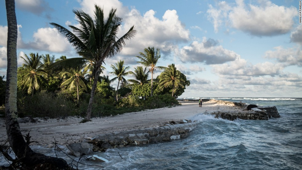 Waves pummel the coast of Temwaiku, a village on the capitol island of South Tarawa. Many residents have been forced to leave this area due to flooding.