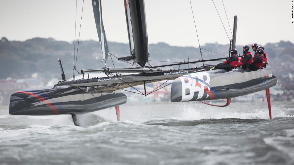 Much as the boats did in last year's America's Cup, the team's test boat looks like it is literally flying through the water, known as foiling.