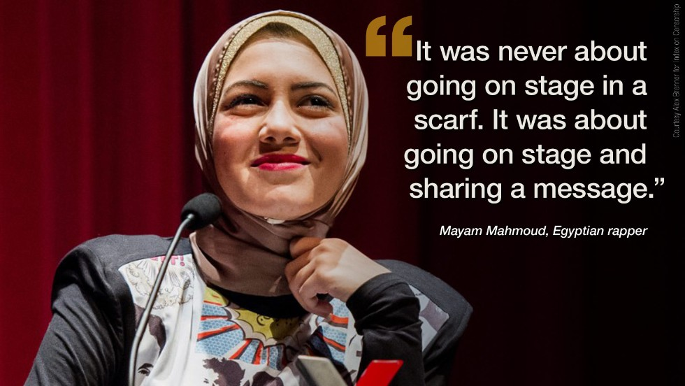 "Early on in 2014, <a href=""http://edition.cnn.com/2014/03/25/world/africa/female-egyptian-rapper-tackles-equality/index.html"" target=""_blank"">18-year-old Egyptian rapper Mayam Mahmoud</a> came to London to receive the Index Freedom of Expression award for her work towards women's rights. Ahead of her win, she stopped by the CNN bureau to discuss why she refuses to accept that women in Egypt must be subservient to men."