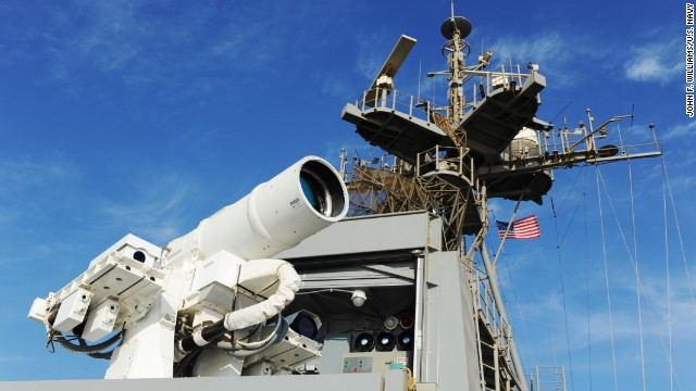 ARABIAN GULF (Nov. 16, 2014) The Afloat Forward Staging Base (Interim) USS Ponce (ASB(I) 15) conducts an operational demonstration of the Office of Naval Research (ONR)-sponsored Laser Weapon System (LaWS) while deployed to the Arabian Gulf. (U.S. Navy photo by John F. Williams/Released)