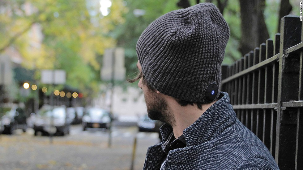 The 1Voice beanie is a warm, wireless way to listen to music. Bluetooth headphones built into the knit hat stream music from your device.