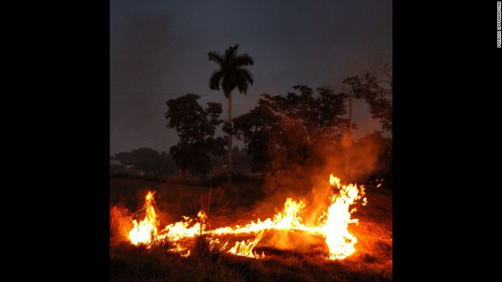 "Oppmann notes a ""(b)rush fire by side of the road on the drive from Pinar del Rio to Havana."""