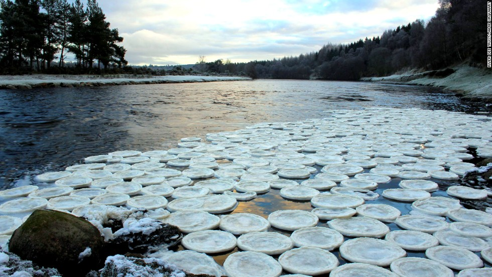 Giant, spinning ice disc forms in Maine river