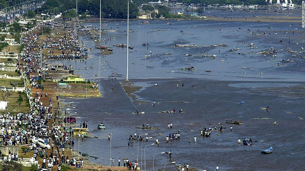 Aerial view of the destruction at Marina Beach in Chennai on December 26, 2004.