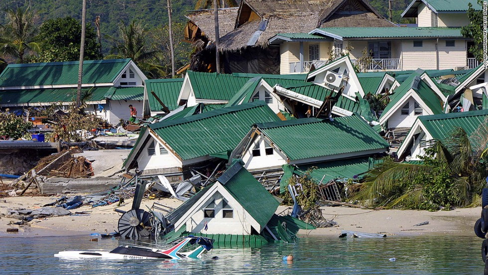 The scene on Phi Phi island in southern Thailand the day after a tidal wave struck on December 26, 2004.