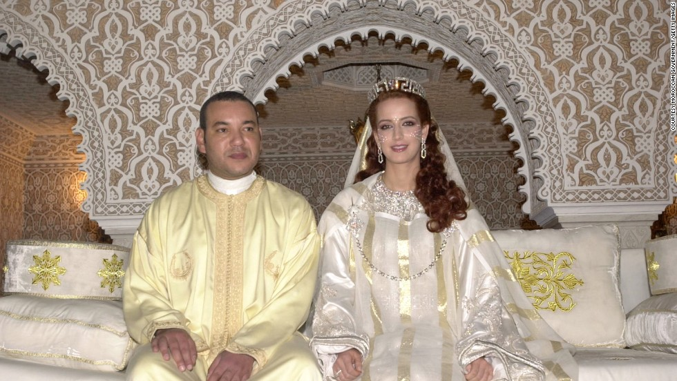 King Mohammed VI of Morocco sits with his wife, Princess Lalla Salma, at the royal palace on July 13, 2002, in Rabat, Morocco.